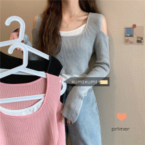 Wool knitwear Spring 2021 Average size Goddess grey, versatile black, cherry powder Long sleeves Fake two pieces Socket other 30% and below have cash less than that is registered in the accounts routine commute Self cultivation Low crew neck routine Color matching Socket Korean version