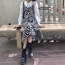 Dress Spring 2021 Average size Mid length dress singleton  Sleeveless commute Zebra pattern camisole 18-24 years old Korean version 30% and below other