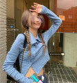 T-shirt Blue, black Average size Spring 2021 Long sleeves Polo collar Self cultivation have cash less than that is registered in the accounts routine commute other 30% and below 18-24 years old Korean version Thin horizontal stripe