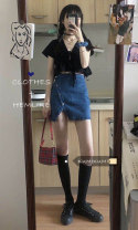 skirt Spring 2021 S. M, l, average size Black top, denim skirt Short skirt commute High waist skirt Solid color Type A 18-24 years old 51% (inclusive) - 70% (inclusive) Korean version