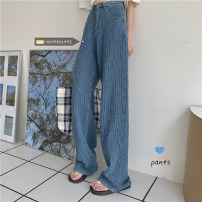 Jeans Spring 2021 Light blue, black gray S,M,L trousers High waist Knickerbockers routine 18-24 years old Coated denim Dark color 30% and below