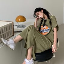 Dress Summer 2021 Bean paste green Average size longuette singleton  Short sleeve commute Crew neck Loose waist letter Socket A-line skirt routine 18-24 years old Type A Korean version 30% and below