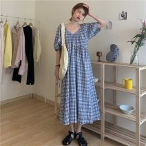 Dress Summer 2021 Blue and white Average size Mid length dress singleton  Short sleeve commute V-neck High waist lattice A-line skirt routine 18-24 years old Type A Korean version 30% and below other