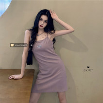 Dress Spring 2021 Gray, purple, black Average size Middle-skirt singleton  Sleeveless commute High waist Solid color A-line skirt camisole 18-24 years old Type A Korean version 30% and below other