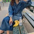 Dress Spring 2021 Denim blue Average size longuette singleton  Long sleeves commute Polo collar Loose waist Solid color Single breasted other routine Others 18-24 years old Type H Other / other Korean version 81% (inclusive) - 90% (inclusive) Denim cotton