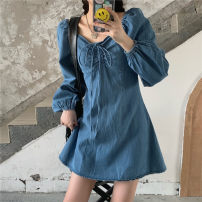 Dress Spring 2021 Graph color S, M Short skirt singleton  Long sleeves square neck High waist Solid color Socket A-line skirt routine 18-24 years old Type A 71% (inclusive) - 80% (inclusive) Denim cotton