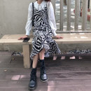 Dress Autumn 2020 Zebra skirt, white shirt Average size longuette singleton  Sleeveless commute High waist Zebra pattern Socket Irregular skirt camisole 18-24 years old Type A Korean version Asymmetry, split 30% and below
