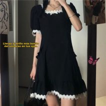 Dress Summer 2021 black Average size Short skirt singleton  Short sleeve commute Crew neck High waist Solid color Socket A-line skirt routine Others 18-24 years old Type H Korean version 71% (inclusive) - 80% (inclusive) other other