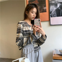 Wool knitwear Spring 2021 Average size Picture color Long sleeves singleton  Cardigan other 71% (inclusive) - 80% (inclusive) have cash less than that is registered in the accounts routine commute easy Low crew neck routine stripe Single breasted Korean version 18-24 years old
