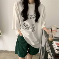 T-shirt White, black Average size Spring 2021 Short sleeve Crew neck easy Medium length routine commute cotton 96% and above 18-24 years old Korean version originality letter printing