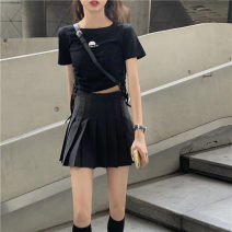 skirt Summer of 2019 S, M Gray, black Short skirt commute High waist Pleated skirt Solid color Type A 18-24 years old Other / other Korean version