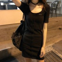 Dress Summer 2020 black Average size Short skirt singleton  Short sleeve Crew neck High waist Solid color routine Others 18-24 years old Type H