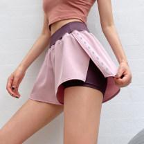 Sports pants / shorts female S,M,L Black, grey, pink Song station shorts Spring 2021 Tightness polyester fiber polyester fiber