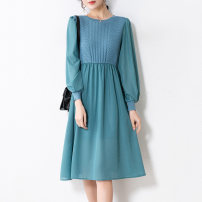 Dress Spring 2021 Blue black M L XL 2XL 3XL longuette singleton  Long sleeves commute Crew neck High waist Solid color Socket A-line skirt routine 25-29 years old Type A Oledley Korean version Splicing 21J11042 More than 95% other Other 100%