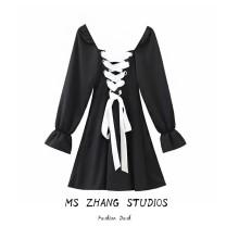 Dress Spring 2020 Black, white, blue S,M,L Short skirt singleton  Long sleeves street square neck High waist puff sleeve
