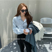 Women's large Autumn 2020 Blue, black It is suggested that the size of the recommended size is 120-40kg, and it is recommended to use the size of 120-40kg shirt singleton  commute easy moderate Cardigan Long sleeves Korean version Polo collar routine shirt sleeve 18-24 years old