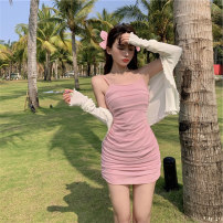Women's large Summer 2021 Cardigan, pink skirt, black skirt It is suggested that the size of the recommended size is 120-40kg, and it is recommended to use the size of 120-40kg Dress Two piece set commute Self cultivation thin Socket Sleeveless Korean version Medium length Three dimensional cutting