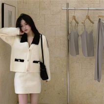 Women's large Winter 2020, spring 2021 White and black stitching knitted cardigan, white and black stitching knitted skirt It is suggested that the size of the recommended size is 120-40kg, and it is recommended to use the size of 120-40kg Knitwear / cardigan Two piece set commute easy thick Cardigan