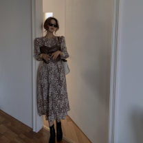 Women's large Autumn 2020 Coffee suspender, coffee dress It is suggested that the size of the recommended size is 120-40kg, and it is recommended to use the size of 120-40kg Dress Two piece set commute easy moderate Long sleeves Retro Crew neck have cash less than that is registered in the accounts