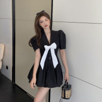Women's large Summer 2021 Black, white It is suggested that the size of the recommended size is 120-40kg, and it is recommended to use the size of 120-40kg Dress singleton  commute easy moderate Socket Short sleeve Korean version Medium length Three dimensional cutting 18-24 years old Short skirt