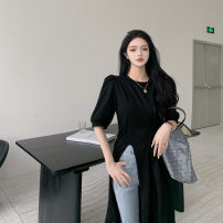 Women's large Summer 2021 black It is suggested that the size of the recommended size is 120-40kg, and it is recommended to use the size of 120-40kg Dress singleton  commute easy moderate Socket Short sleeve Korean version Crew neck Medium length Three dimensional cutting puff sleeve 18-24 years old