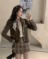 Women's large Winter 2020, autumn 2020 Suit, plaid skirt It is suggested that the size of the recommended size is 120-40kg, and it is recommended to use the size of 120-40kg suit Three piece set commute easy thick Cardigan Long sleeves Korean version routine Short skirt