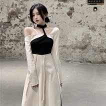 Women's large Spring 2021 Rice, apricot and black It is suggested that the size of the recommended size is 120-40kg, and it is recommended to use the size of 120-40kg Dress singleton  commute Self cultivation moderate Conjoined Long sleeves Korean version routine 18-24 years old Medium length