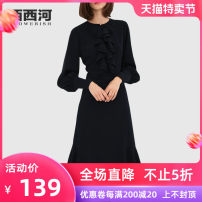 Dress Autumn of 2019 black S M L XL 2XL Mid length dress singleton  Long sleeves street Crew neck middle-waisted Solid color Socket A-line skirt Others 30-34 years old Xixi River POM19-1004 More than 95% polyester fiber Polyester 100% Pure e-commerce (online only) Europe and America