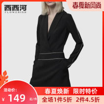Dress Autumn of 2019 black S M L XL 2XL Mid length dress singleton  Long sleeves street V-neck middle-waisted Solid color Socket other Others 30-34 years old Xixi River POM19-1045 More than 95% polyester fiber Polyester 100% Pure e-commerce (online only) Europe and America