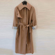 Windbreaker Spring 2020 2 = s, 3 = m, 4 = L, 5 = XL Khaki, black Long sleeves routine Medium length commute Single breasted square neck routine Solid color Straight cylinder Simplicity Novel goldette 1400159-328543-001 35-39 years old Frenulum 31% (inclusive) - 50% (inclusive) wool wool