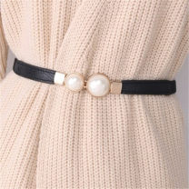 Belt / belt / chain canvas Black, white, red female belt Versatile Double loop Youth, youth, middle age a hook Double button soft surface 1.5cm alloy