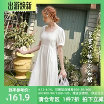 Dress Summer 2020 Forever white L,S,M Mid length dress singleton  Short sleeve Sweet square neck High waist Socket A-line skirt puff sleeve 18-24 years old Type X Goblin's pocket ten million two hundred thousand one hundred and fifty-five More than 95% other Ruili