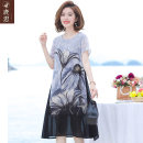 Middle aged and old women's wear Summer 2021 grey commute Dress easy singleton  Decor 40-49 years old Socket thin Crew neck Medium length routine LS2021B99116 Sskkdeer / Luxi polyester Polyester 100% 96% and above Pure e-commerce (online only) longuette