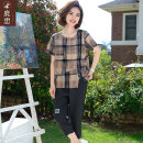 Middle aged and old women's wear Summer 2021 Plaid Top + black cotton linen pants fashion suit easy Two piece set lattice 40-49 years old Socket thin Crew neck routine routine LS2021B2136-1 Sskkdeer / Luxi pocket other Other 100% 96% and above Pure e-commerce (online only) Cropped Trousers
