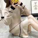 Dress Winter 2020 Black apricot Caramel Average size Mid length dress singleton  Long sleeves commute Half high collar Loose waist Solid color Socket Pleated skirt routine Others 18-24 years old Type H Yalianxiang Korean version Splicing Oeqdp0 More than 95% other other Other 100%