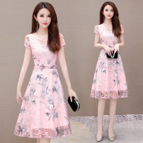 Dress Summer of 2019 Pink Blue M L XL 2XL 3XL 4XL Mid length dress singleton  Short sleeve commute Crew neck High waist Decor Socket Big swing routine Others 35-39 years old Melanie Korean version Splicing 019A-C1978 More than 95% polyester fiber Polyester 100% Pure e-commerce (online only)