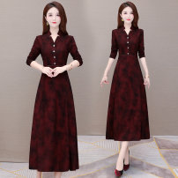 Dress Autumn 2020 Red blue M L XL 2XL 3XL 4XL Mid length dress singleton  Long sleeves commute V-neck High waist Decor Socket Big swing routine Others 35-39 years old Type A Melanie Korean version Stitching buttons FJ0831 More than 95% other polyester fiber Other polyester 95% 5%