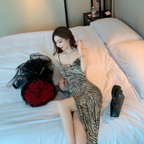Dress Autumn 2020 Dark green zebra pattern S M L longuette singleton  Sleeveless commute V-neck High waist Zebra pattern Socket One pace skirt routine camisole 18-24 years old Type H ZITIAN Korean version backless ZT19447 More than 95% other Other 100% Pure e-commerce (online only)
