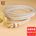 Belt / belt / chain top layer leather White blue female belt literature Single loop Pin buckle soft surface 1.5cm alloy Hollowing out Vzc VZC277 Spring and summer 2017
