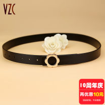 Belt / belt / chain Double skin leather Black coffee white female belt Sweet Single loop Youth, middle age and old age Smooth button Glossy surface Glossy surface 2.8cm alloy alone Vzc VZC626 90cm 95cm 100cm 105cm 110cm 115cm 120cm Autumn of 2019