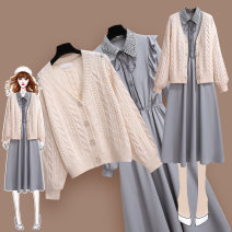 Dress Spring 2021 S,M,L,XL,2XL Mid length dress Two piece set Long sleeves commute Polo collar High waist Solid color double-breasted A-line skirt Lotus leaf sleeve Type A Korean version