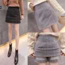 skirt Winter 2020 S,M,L,XL,2XL Black, gray Short skirt commute High waist A-line skirt lattice Type A 18-24 years old Wool cotton Korean version