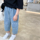 trousers SENBABY female 90, 100, 110 (model), 120, 130, 140, 150 Jeans (in stock), jeans (pre-sale size 4.17), jeans (pre-sale size 3.28), jeans (pre-sale) spring and autumn Ninth pants Korean version There are models in the real shooting Jeans Leather belt middle-waisted Cotton denim s669