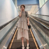 Dress Summer of 2019 Grey [high quality fabric], black [high quality fabric], limited quantity 49.8 package, price increase 288 after the event S,M,L,XL Mid length dress singleton  Short sleeve commute Crew neck High waist Solid color Socket Cake skirt routine Others Korean version 30% and below