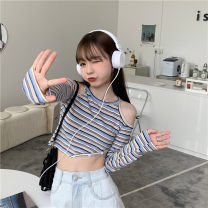 T-shirt Black, white, striped Average size Spring 2021 Long sleeves Crew neck Self cultivation have cash less than that is registered in the accounts routine commute cotton 96% and above 18-24 years old Korean version youth Thin horizontal stripe Splicing
