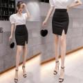 skirt Spring 2021 S,M,L,XL black Short skirt Versatile High waist skirt Solid color Type H XM brocade