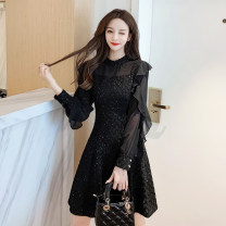 Dress Spring 2021 Black, maroon S,M,L,XL,2XL,3XL,4XL Short skirt singleton  Long sleeves commute Solid color zipper A-line skirt Flying sleeve 18-24 years old Type A Korean version jr 71% (inclusive) - 80% (inclusive)