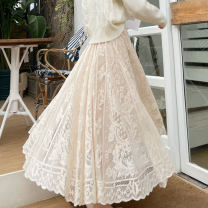 skirt Spring 2021 S,M,L,XL Apricot, white, black Mid length dress Versatile High waist Fairy Dress Solid color Type A 18-24 years old AT 81% (inclusive) - 90% (inclusive) Lace other