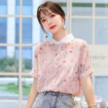 Lace / Chiffon Summer 2021 Pink S,M,L,XL,2XL Short sleeve commute Socket singleton  easy Doll Collar Decor shirt sleeve 18-24 years old XM* Korean version 31% (inclusive) - 50% (inclusive)