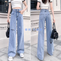 Jeans Summer 2021 611 no hole nine, 612 no hole pants, 613 no hole lengthening, 711 no hole nine, 712 no hole pants, 713 no hole lengthening XS,S,M,L,XL trousers High waist Wide legged trousers routine 18-24 years old Wear, wash, flanging, zipper, button, patch, multi pocket, metal decoration, others